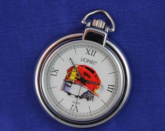Lionel Train Pocket Watch • Leather Case • Quartz • Free Shipping!    • Working and Ready for Use