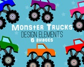 SALE Monster Trucks Clipart, Automobile Clip Art, Colorful, Racing, Transportation Clipart, Planner Clip Art