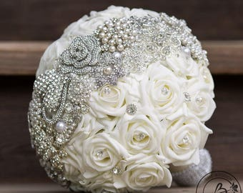Brooch Wedding Bouquet Vintage Bridal Strip Over Roses Silver