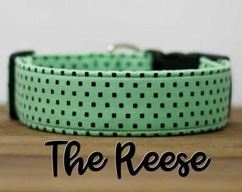 "Modern Mint & Black Geometric Dog Collar ""The Reese"""