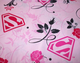 clearanced super rare super girl pink rose cotton fabric sold by 1/2 yards smoke and pet free home