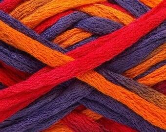 Handmade - ruffle scarf small orange, purple and Red trim