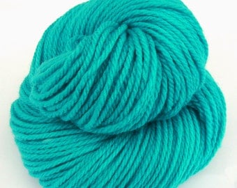 Hand dyed Aran weight yarn Superwash Merino, Nylon and Cashmere  - turquoise seas