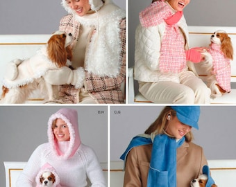 Dog Coat  with Matching Ladies Scarf , Hat and Mitten Pattern by Simplicity 4316