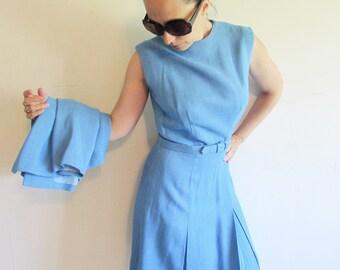 Vintage Stunning 50s 60s Blue Kenzar's Sleeveless Kick Pleat Dress with Matching Jacket