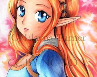 Legend of Zelda Poster Print / Comic Marker Drawing / Breath of the Wild