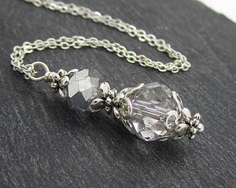 Grey Silver Wedding Jewellery, Bridesmaid Necklace, Grey Silver Wedding, Bridesmaid Gift, Silver and Grey, Wedding Jewellery