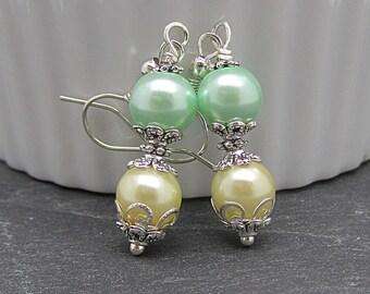 Pastel Bridemaid Earrings, Yellow and Green Summer Wedding Earrings Pastel Pearl Drops Mint and Lemon Bridesmaid Jewellery Pearl Wedding Set