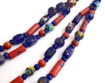 African Trade Beads Necklace - Tribal Hand Made Glass Beads - Venetian - Double Strand - Ethnic Jewelry - 54 Inch - Statement