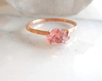 Natural Pink Peach Sapphire Ring, Raw Sapphire Ring, Alternative Stone Engagement Ring, Choose Your Own Stone, 14k Gold Ring Made To Or