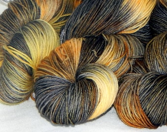 It's a Hufflepuff Day on Mad Sock 75/25 SW merino and nylon sock yarn