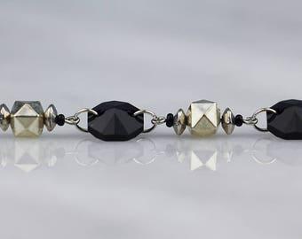 Black and Silver Geometric Beaded Bracelet