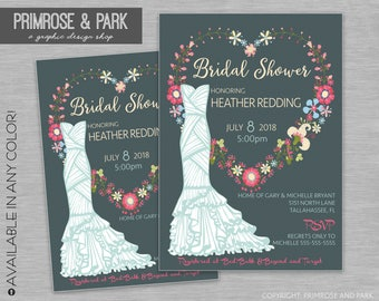 Floral Bridal Shower Invitation Printable // Vintage Style Invitation
