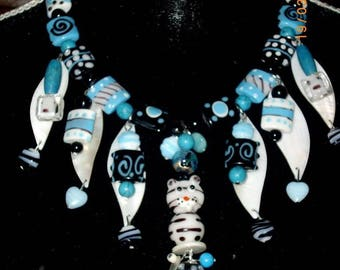 """necklace """"tabby cat"""" agate and turquoise beads"""