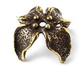 Herb leaf brass jewellery findings bead cap L0554(1). Flower, plant, four leaves. Design and made by Anna Bronze