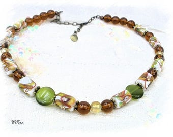 necklace made of glass style Italian green caramel tones and bronze CO663