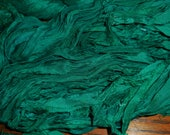 50 Yards, Medium to Deep Green with a Touch of Blue Spruce,  Sari Silk Ribbon Skeiin,  Fair Trade in India