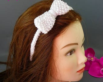 """Headband fancy """"Knot"""" knitted by hand with white rice - thread stitch"""