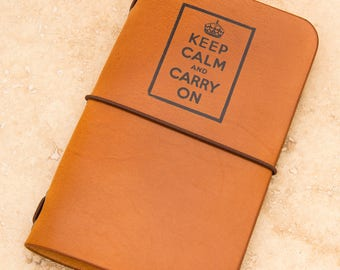 Leather Moleskine Cahier/Field Notes Notebook Cover (Keep Calm)