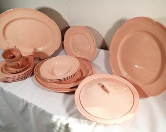 Johnson Brothers Rosedawn dinnerware set, pink dishes scalloped edge 21 piece set dinner and serving ware 1940 - 1970 pastel pink kitchen