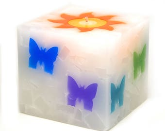 Cosmic Candles Butterfly Square Pillar Unscented 4x4