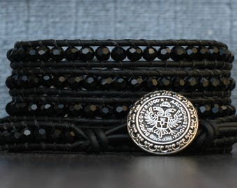 black crystal wrap bracelet- jet black faceted crystals on black leather- beaded leather 5 wrap - bohemian chic boho glam