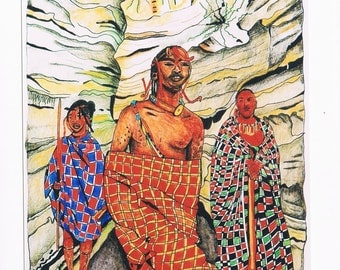 The Masai men/Illustrated card /Traveling/Art Card/