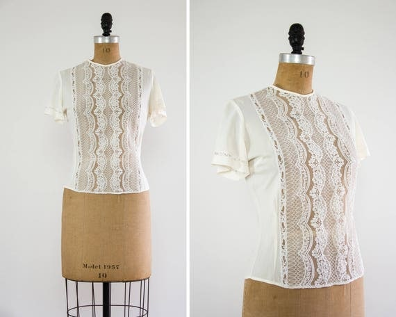 vintage 1950s blouse | 50s ivory lace top | nylon blouse | lace shirt | vintage white blouse