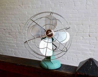 Vintage Eskimo turquoise oscillating fan flower cage 10 inch cage