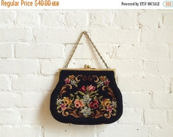 20% OFF Vintage floral needlepoint clutch evening purse bag