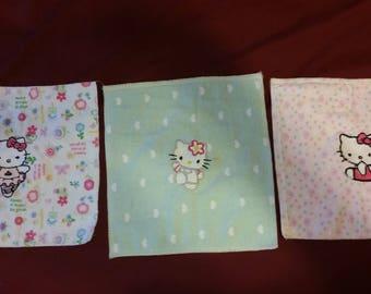 Set of three kitty washcloths