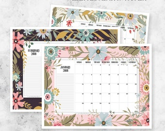 2018 Printable Monthly Planner Calendar | Weekly Planner + To Do List | Planning Calendar + Notes | Wall Calendar | Download | Printable