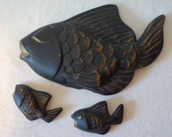 Three 1950's Fish Wall Hangings  (Black and Gold)