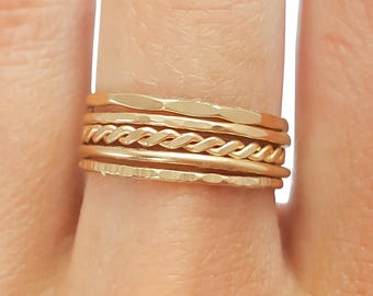 Thin Stacking Rings, Gold Filled- Set of 5