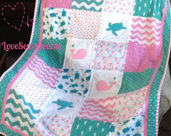 GORGEOUS Baby Girl Nautical Quilt/BABY QUILT/Coastal quilt/Baby bedding
