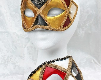 Hand Painted Couples Masks, Matching Venetian Style Paper Mache Gold Black Red Ivory Masquerade Masks