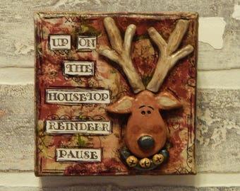 Mixed Media Reindeer Canvas..Mixed Media Art..Reindeer Art..Christmas Art..Christmas Decor..Red and Green..Original Mixed Media..Clay Art