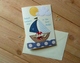 Father's Day Boat Personalised Card // Personalised Card // Boat Card // Handmade Card // Textile Card // Nautical Card //