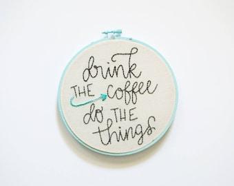 "Coffee To Do List - Hoop Art 6"""