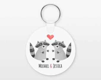 Raccoon Keychain, Couple Keychain Personalized Keychain, Boyfriend Keychain Girlfriend Keychain, Couple Key Chain, Animal Keychain, Keyring