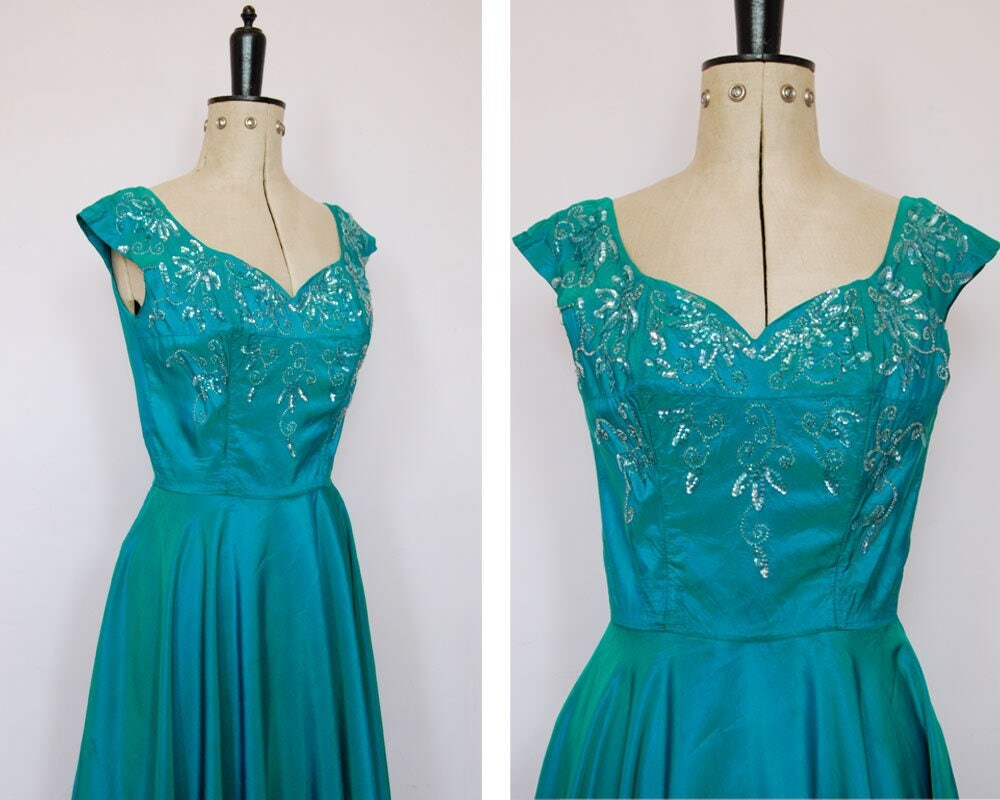 Vintage 1950s Iridescent Teal Satin Ball Gown 50s Prom Dress