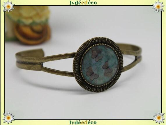 Bracelet green brown Butterfly bronze brass adjustable 20 mm resin