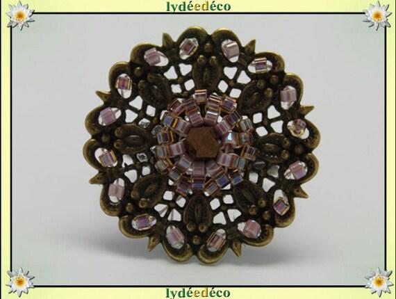 Japanese amber purple glass 25mm brass beads charm retro vintage adjustable flower ring