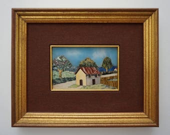 Pietra Dura Mosaic Landscape Picture Framed - 20th Century, Vatican