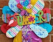 "Adorable ""SUMMER"" Flip Flop Wreath Door Wall Decor Unique Gift Ocean Styles Beach"