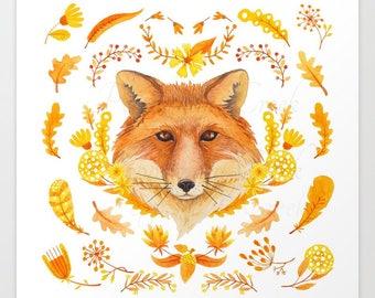 Autumn Fox, Fall Fox, Autumn Animal Print, Fall Animal Print, Fall Wall Art, Rustic Animal, Woodland Animal, Orange Print, October Print
