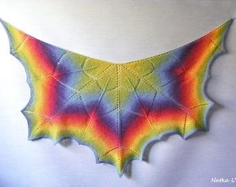 Rainbow shawl, maple leaf shawl, knit wool shawl, women's knitted shawlette, autumn shawl, handmade, natural, gift for Her, Christmas gift