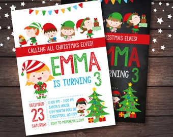 Christmas Birthday Invitation, Elves Invitation, Holiday Party Invitation, Christmas Party, DIGITAL
