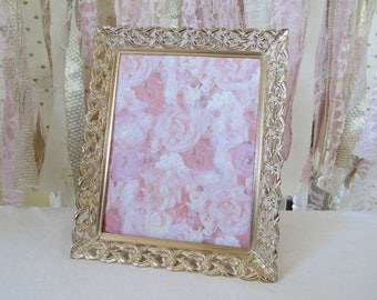 White Gold Patina French Baroque Metal Frames Ornate Vintage Antique, Baby Nursery, Wedding Frame Photo Prop  8x10