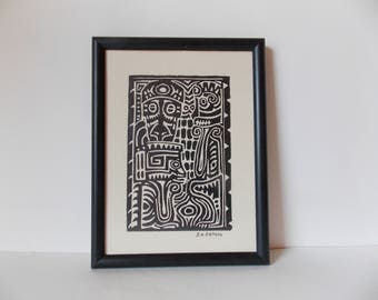 Vintage Signed Art Print Geometric Polynesian Style Image in Wood Frame